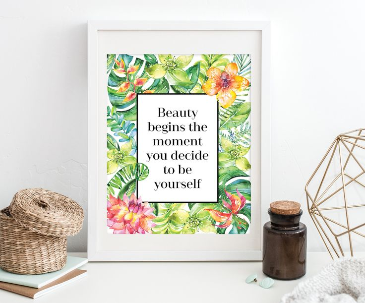 Girl Dorm Decor - Girl Office Decor - Girl Power Quote - Tropical Print - Girl Print - Digital Download - Inspirational Quote Printable by SmudgeCreativeDesign on Etsy