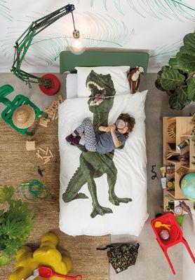 Parure de lit 1 personne Dinosaurus Rex / 140 x 200 cm Dino / Vert - Snurk