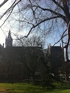 The view of the main University of Glasgow building in the spring sunshine.