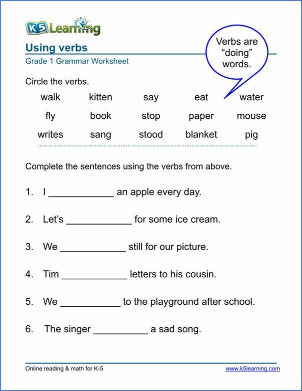 Verbs Worksheet Verb Worksheets 2nd Grade Worksheets Grammar Worksheets 2nd grade verb worksheets