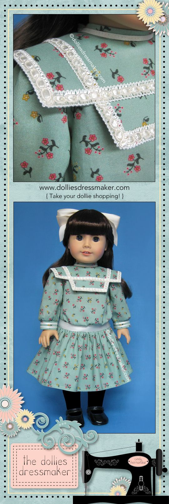 "Green print dress for American Girl doll Samantha inspired by illustration in the book ""Samantha Learns a Lesson: A School Story"" (ORIGINAL VERSION) 