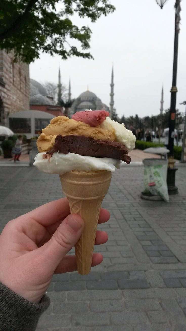 Istanbul ice cream, in front of the Blue Mosque