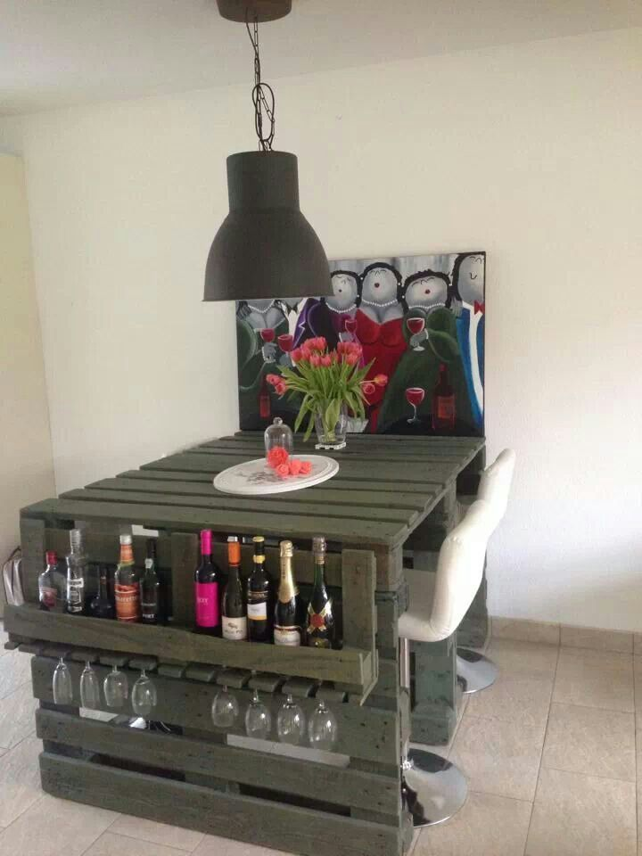Recycled items don't have to look rustic.  This is a great contemporary, and functional table/bar.  Looks great!