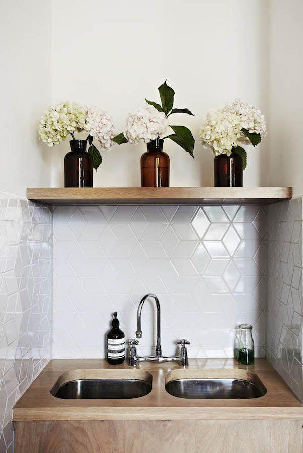 Bathroom ensuite. White Geometric tile. Timber. Market Lane coffee, Faraday St, Carlton. Melbourne. TDF