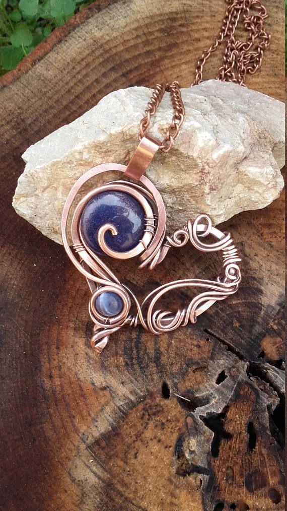 Heart wire wrapped pendantCopper pendant Copper wire heart