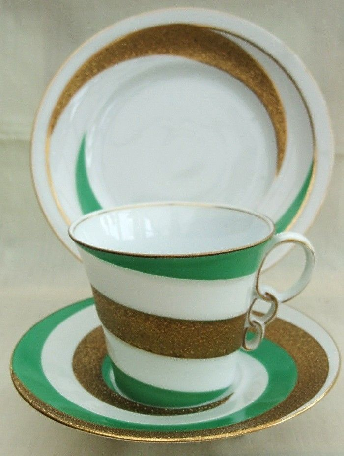 Pretty EPIAG CZECHOSLOVAKIA Green & Gold CUP SAUCER & PLATE - Trio - Unusual