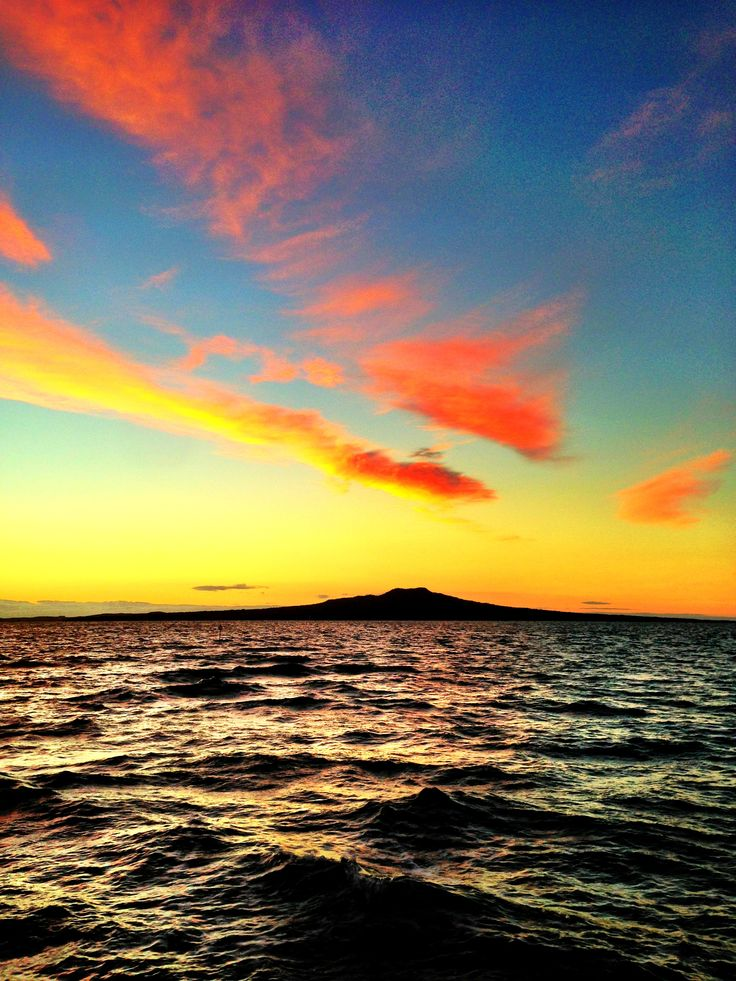 Wild morning sunrise, Rangitoto Island, Auckland NZ