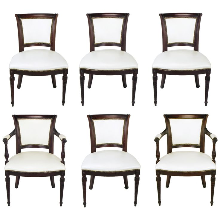 Six 1940s Louis XVI Style Cherry U0026 White Leather Dining Chairs