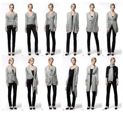 Convertible cardigan    DKNY for ways to wear it