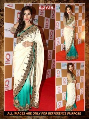 white ambroidery georgette  party wear saree with blouse Sarees on Shimply.com