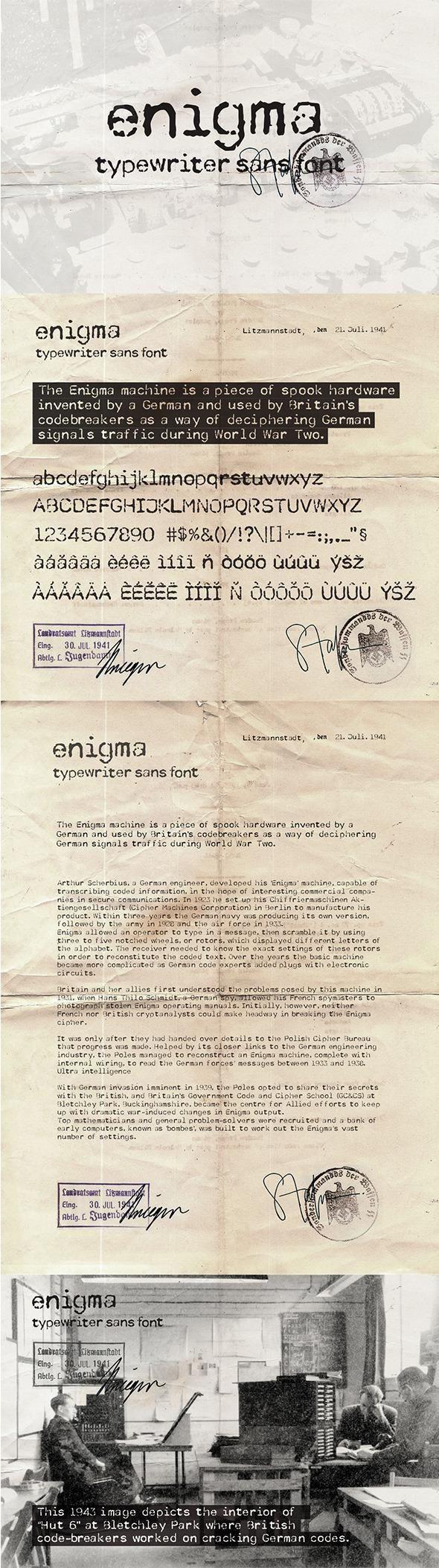 Enigma Typewriter Sans Font for 14 Envato Market font