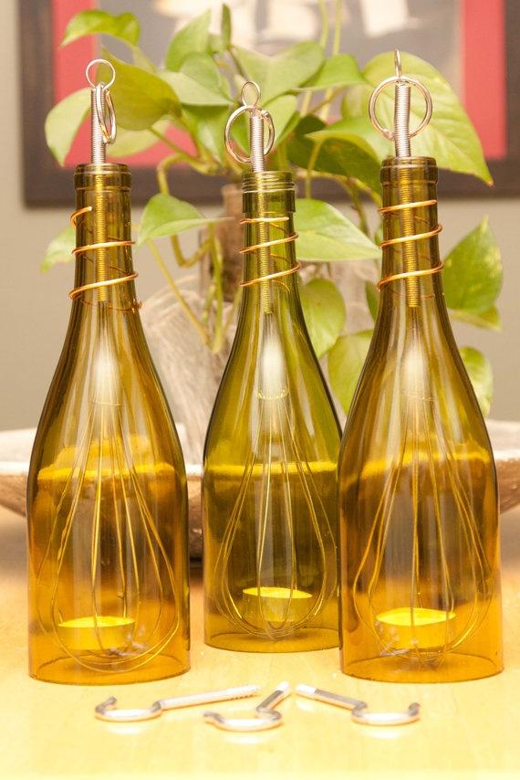 upcycled wine bottle hanging luminary