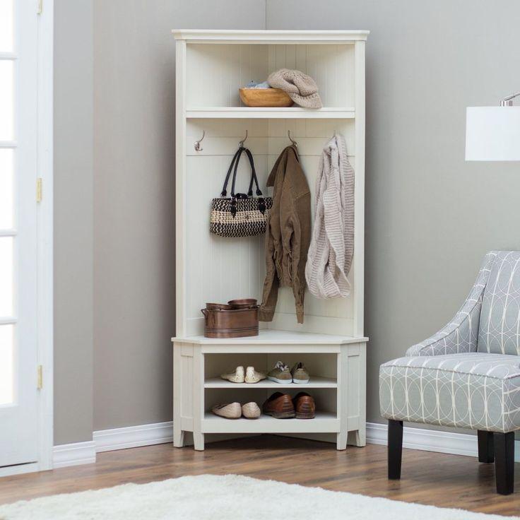 White Entryway Corner Hall Tree Coat Rack Indoor Home Furniture Decor Shoe Bench #belhamliving