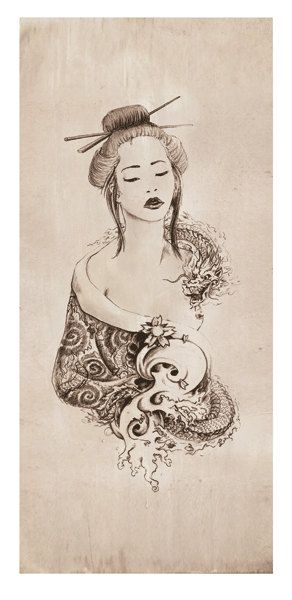 progression from back to soulder. MYTHOLOGY Fantasy Dragon Geisha Limited Edition by Christopher Soprano, $50.00