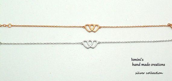 Double heart silver 925 bracelet by IsminisHeartmade on Etsy