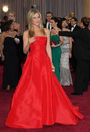 Jennifer Aniston arrives at the 85th Academy Awards.