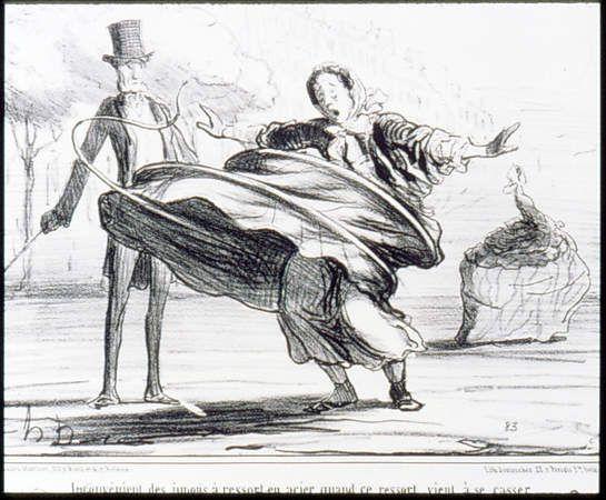 Honoré Daumier, Inconvénient des jupons á ressort en acier, quand ce ressort vient á se casser (The trouble of steel-reinforced petticoats when the spring breaks), August 18, 1857.