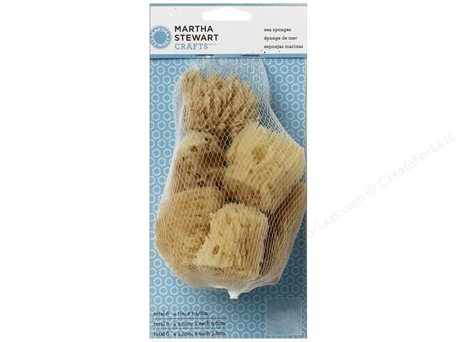"Martha Stewart Tools by Plaid is a line filled with tools for every project, because using the correct tool always makes crafting easier. Sea Sponge Set 6pc- Durable, reusable, and grit-free natural sea sponges provide smooth application. Great for creating mottled effects with paint or glaze. Six sponges include four 1"" and two 1.5"". Wash while wet with brush cleaner or mild soap and water."
