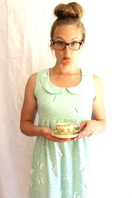 washi dress with peter pan collar (and silly face) I have this pattern, must make it again with collar. LOVE!