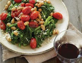 Broccoli Raab with Garlic, White Beans, Tomatoes, and Parmesan Recipe | Vegetarian Times