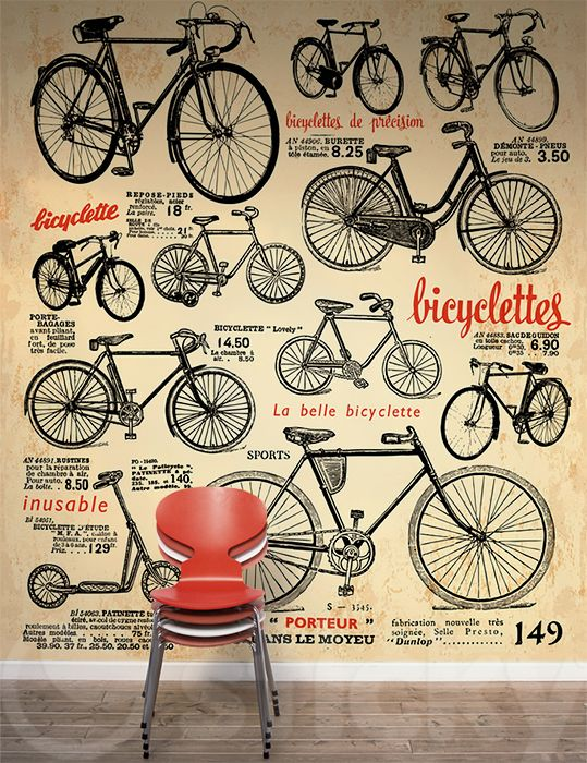 Wallpaper Sticker RETRO BICYCLES by Sticky!!!
