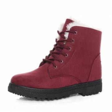 New Women Winter Keep Warm Flat Lace Up Non-Slipper Plush Martin Boots Snow Boo - US$21.98