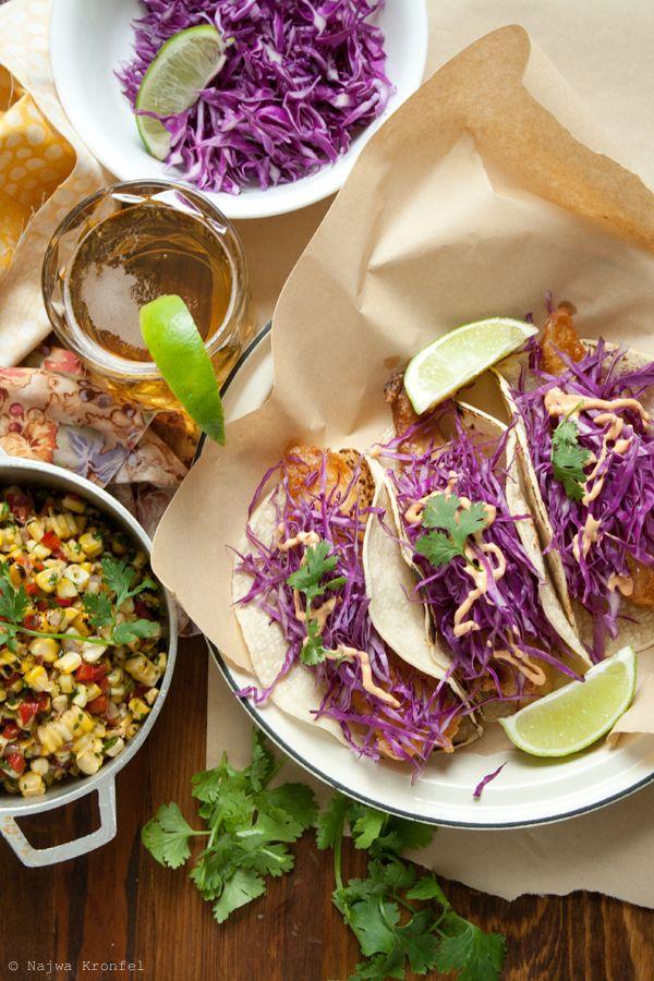 Fish Tacos: Fish Taco Recipes, Crispy Fish, Delicious Shots, Tasti Recipes, Corn Salads, Purple Cabbages, Red Cabbages, Purple Vegetable, Fish Tacos Recipes