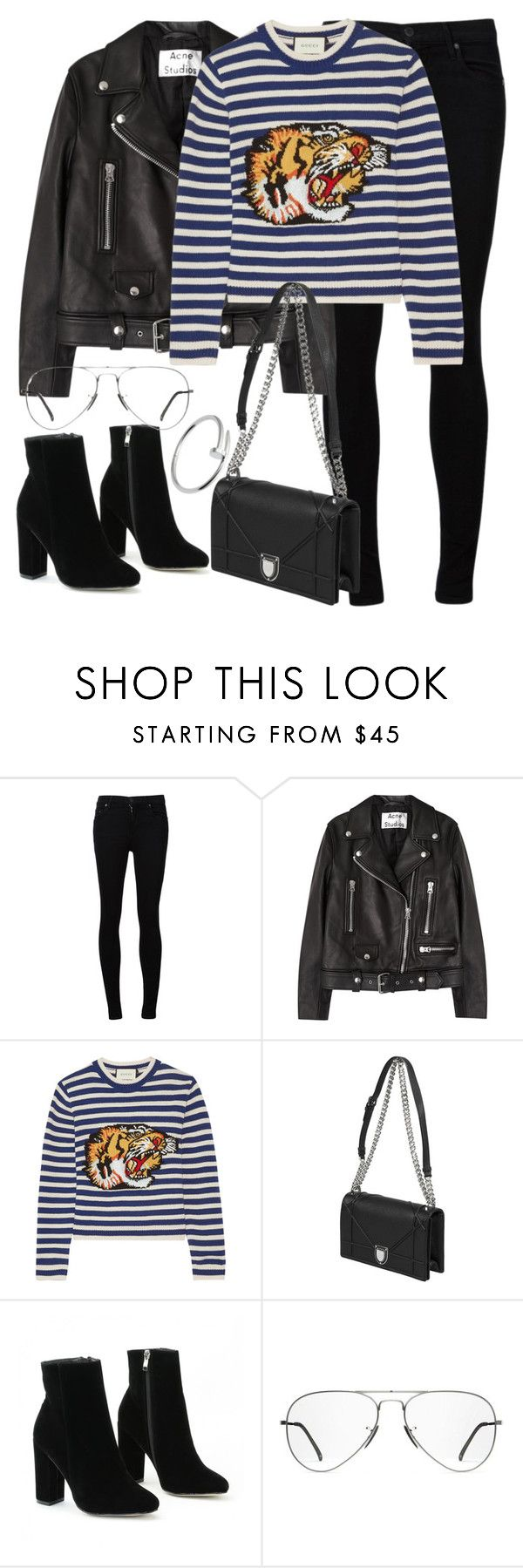 """Untitled #3003"" by elenaday on Polyvore featuring Citizens of Humanity, Acne Studios, Gucci, Ray-Ban and Cartier"