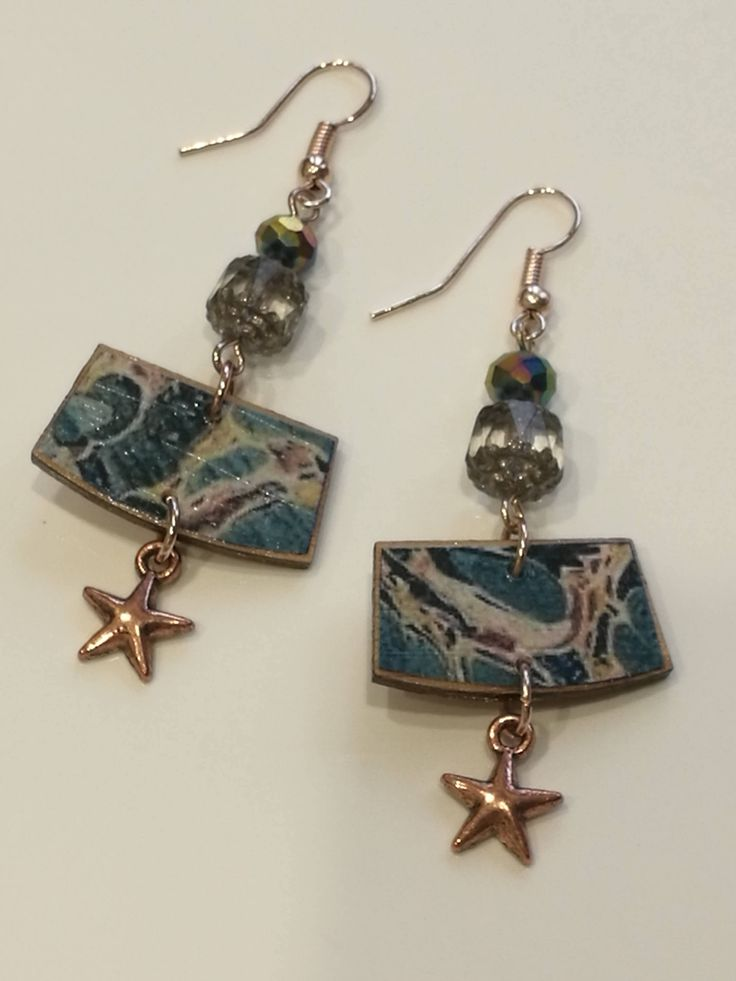 Decoupage Vintage Marbled Wallpaper Earrings by GreyShackStudio on Etsy
