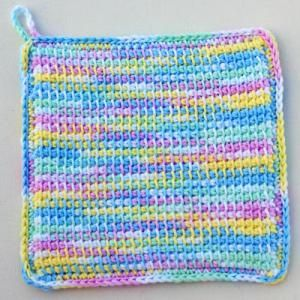 Free Tunisian Patterns for Your Crochet Projects: Pastel Variegated Potholder Crocheted in Tunisian Simple Stitch