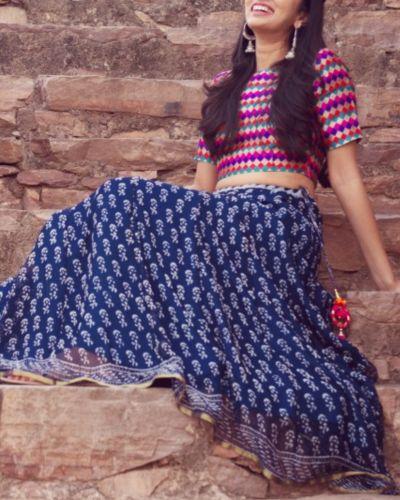 Indigo Block Printed Skirt And Crop Top Set I Shop at :http://www.thesecretlabel.com/kapraha
