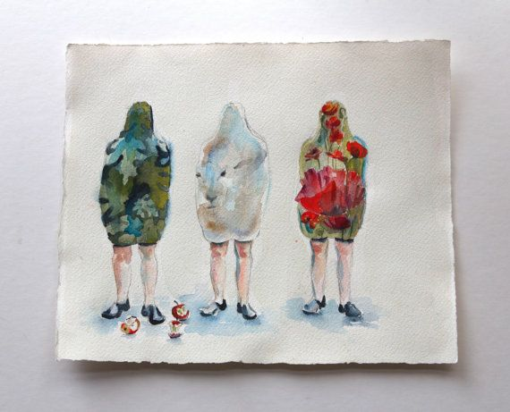 Clothed. Original Watercolor by TheFineToothedComb on Etsy