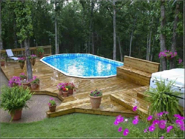 49 best images about backyard on pinterest decks for Pool design on a slope