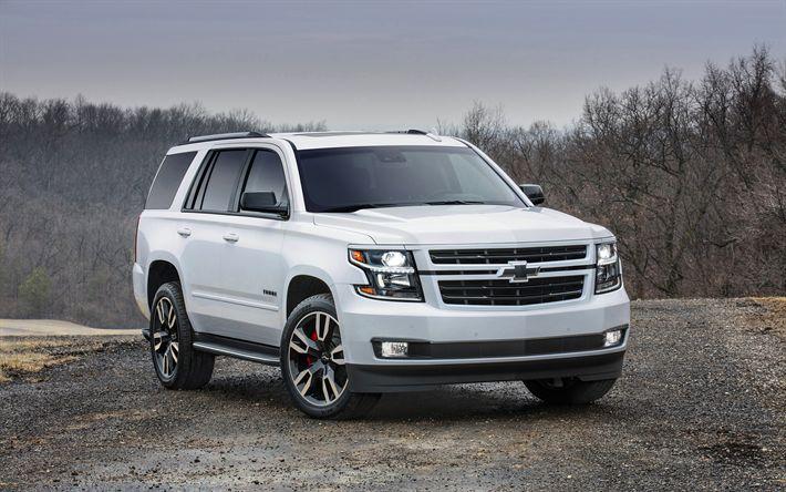 Descargar fondos de pantalla 4k, Chevrolet Tahoe, 2018 coches, blanco Tahoe, SUVs, Chevrolet