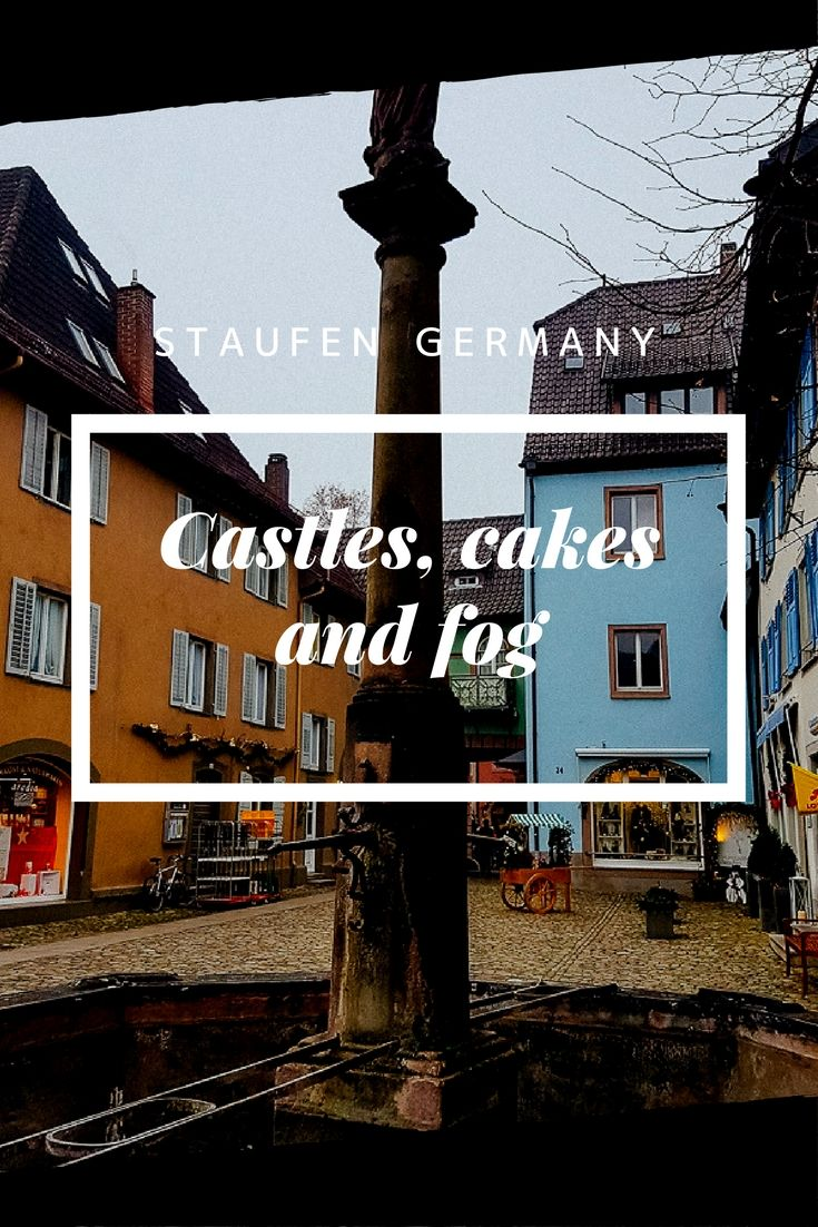 What do you do on a cold foggy winters day in Baden-Württemberg? Go Castle exploring and cake eating. Sounds like a good day I think so. We visited Staufen near Freiburg Germany. #staufen #castle #freiburg #blackforest #wine #cake