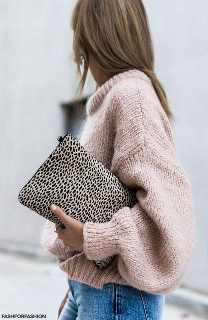 Leo clutch + blush sweater.