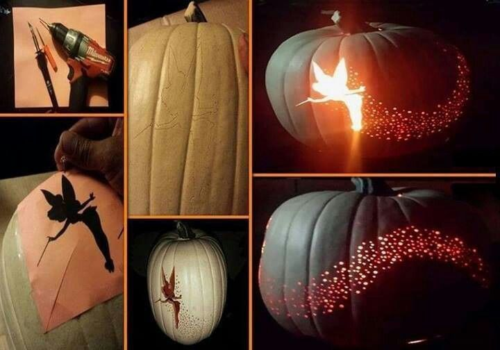 Tinkerbell pumpkin carving happy holidays pinterest for How to carve tinkerbell in a pumpkin