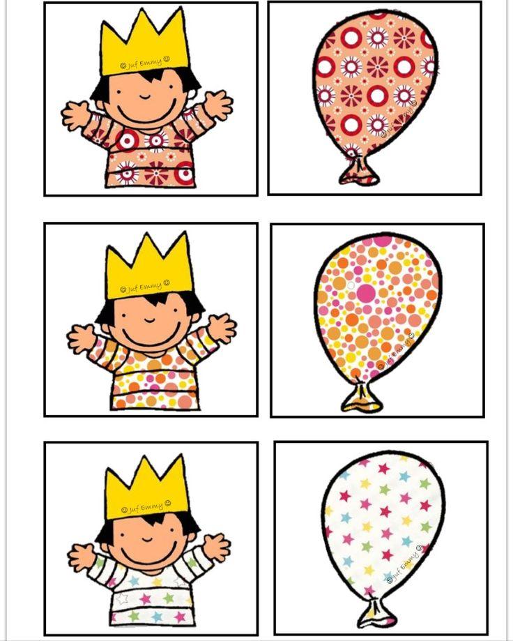 Memorie op aan andere manier: Zoek dezelfde ballon als het motief op de t-shirt van Anna. Juf Emmy