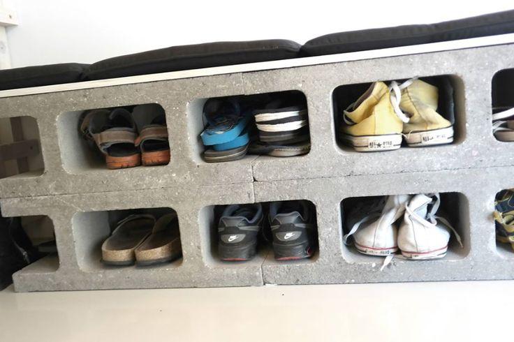 Skoreol / bænk af betonklodser