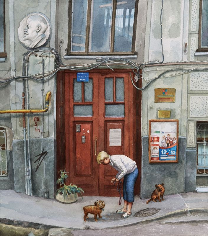 #Moskow #art #watercolor #citylandscape #AlenaDergileva #doors #entrance