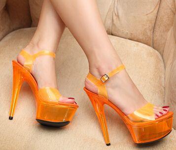 Plus: 34-44 Marca 2016 verão sexy com Tira No Tornozelo high-plataforma de salto alto sandálias de cristal do sexo feminino neon 15 cm saltos finos doces sapatos de mulher