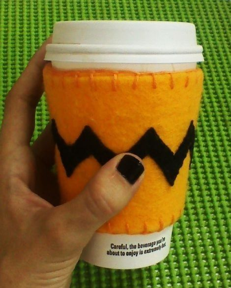 Charlie Brown inspired Coffee Cup Cozy by LaAbeja1 on Etsy, $8.00