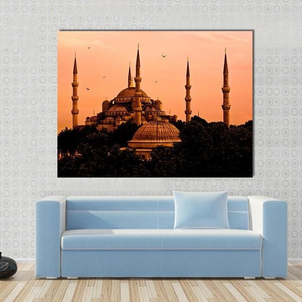 The Blue Mosque In Istanbul At Sunset Multi Panel Canvas Wall Art