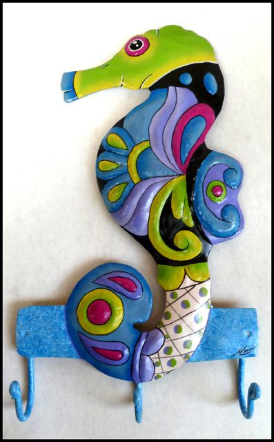 Seahorse - Hand Painted Metal Bathroom Wall Hook - Home Decor  - More tropical designs can be found at www.TropicDecor.com