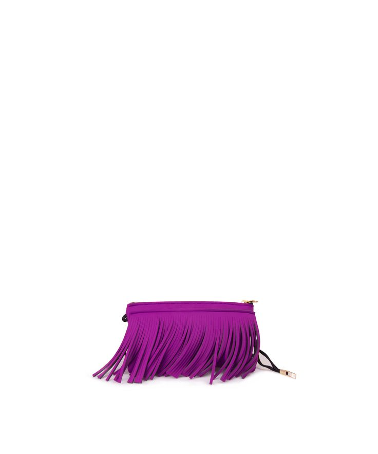 Stand out from the crowd with this fringed clutch. Tough-luxe style with attitude now comes in a range of colours.  Comes with a detachable strap.  Size  290 x 150 x 25 mm  160g  Made in Italy  Vegan Friendly  Made from Poly-Lycra Fabric   Orchid Pink