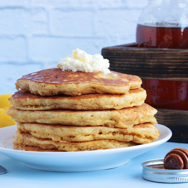 Corn Meal Pancakes with Honey: Masa Pancakes, Breakfast, Food, Recipes, Lemon Mascarpone, Cornmeal Pancakes, Honey