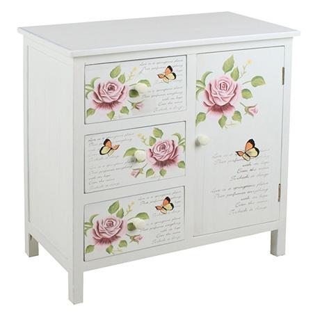 Romantik Yatak Odaları - çiçek Desenlı Ahşap çekmece