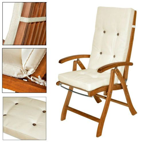 Garden Chair Cushion Pads 6ps Set Beige High Back Waterproof Patio Seat  Cushions #Unbranded