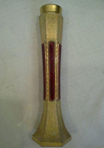 "56401 ANTIQUE VICTORIAN BOHEMIAN PANEL CUT FLASH RUBY W GILT ARABESQUE 10"" VASE"