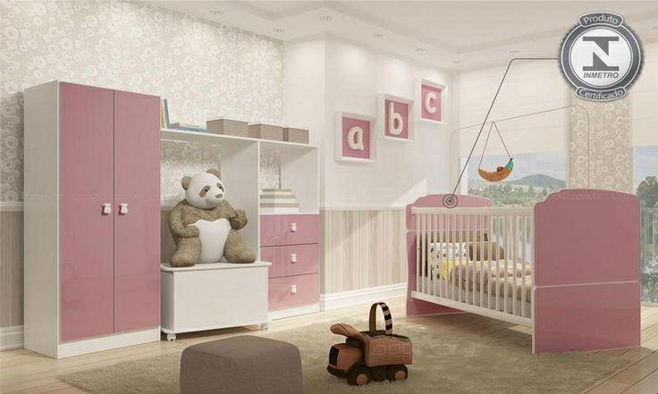 Conjunto Infantil com Berço Mini-cama, Guarda Roupa, Cômoda e Baú Ninar Branco/Rosa - Completa